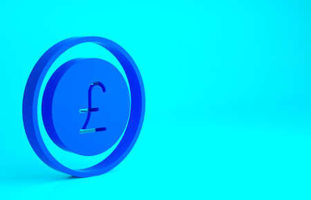 Blue Coin money with pound sterling symbol icon isolated on blue background. Banking currency sign. Cash symbol. Minimalism concept. 3d illustration 3D render