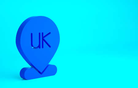 Blue Location England icon isolated on blue background. Minimalism concept. 3d illustration 3D render