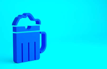 Blue Wooden beer mug icon isolated on blue background. Minimalism concept. 3d illustration 3D render 版權商用圖片