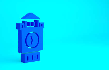 Blue Big Ben tower icon isolated on blue background. Symbol of London and United Kingdom. Minimalism concept. 3d illustration 3D render 版權商用圖片