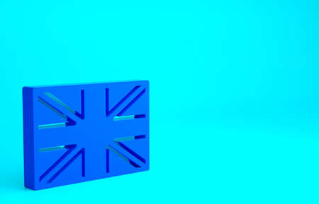 Blue Flag of Great Britain icon isolated on blue background. UK flag sign. Official United Kingdom flag. British symbol. Minimalism concept. 3d illustration 3D render