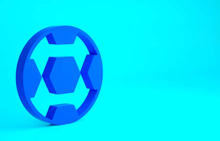 Blue Football ball icon isolated on blue background. Soccer ball. Sport equipment. Minimalism concept. 3d illustration 3D render