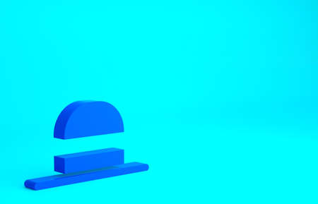 Blue Elegant women hat icon isolated on blue background. Minimalism concept. 3d illustration 3D render