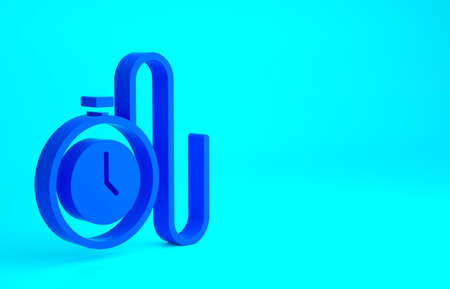 Blue Watch with a chain icon isolated on blue background. Minimalism concept. 3d illustration 3D render