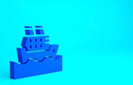 Blue Cruise ship in ocean icon isolated on blue background. Cruising the world. Minimalism concept. 3d illustration 3D render