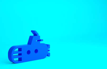 Blue Submarine icon isolated on blue background. Military ship. Minimalism concept. 3d illustration 3D render 版權商用圖片