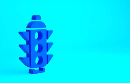 Blue Traffic light icon isolated on blue background. Minimalism concept. 3d illustration 3D render 版權商用圖片