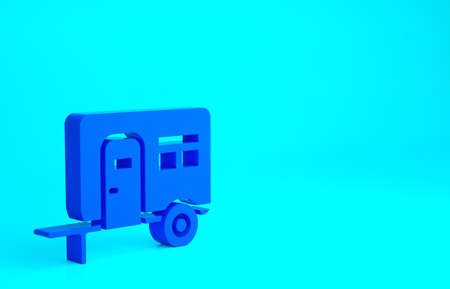 Blue Rv Camping trailer icon isolated on blue background. Travel mobile home, caravan, home camper for travel. Minimalism concept. 3d illustration 3D render