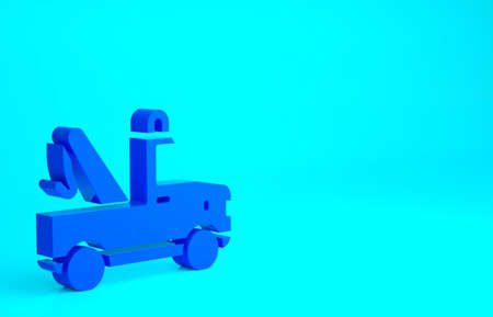 Blue Tow truck icon isolated on blue background. Minimalism concept. 3d illustration 3D render 版權商用圖片