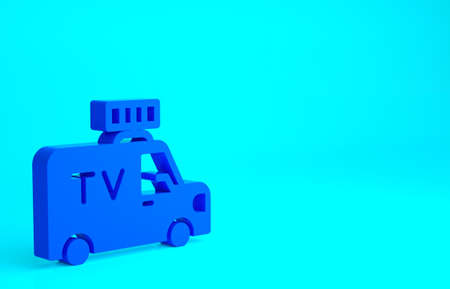 Blue TV News car with equipment on the roof icon isolated on blue background. Minimalism concept. 3d illustration 3D render