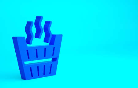 Blue Sauna bucket icon isolated on blue background. Minimalism concept. 3d illustration 3D render