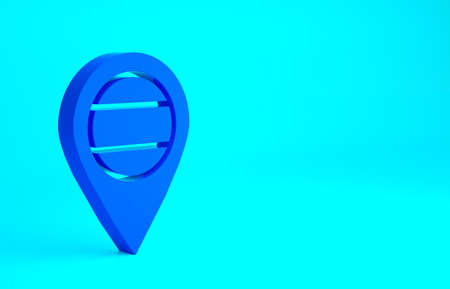 Blue Location Russia icon isolated on blue background. Navigation, pointer, location, map, gps, direction, place, compass, search concept. Minimalism concept. 3d illustration 3D render