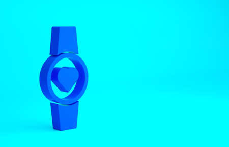 Blue Smartwatch icon isolated on blue background. Minimalism concept. 3d illustration 3D render Banque d'images