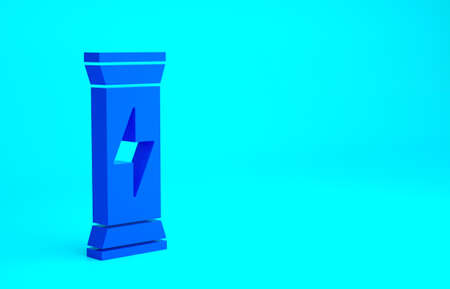 Blue Sports nutrition bodybuilding proteine power drink and food icon isolated on blue background. Minimalism concept. 3d illustration 3D render