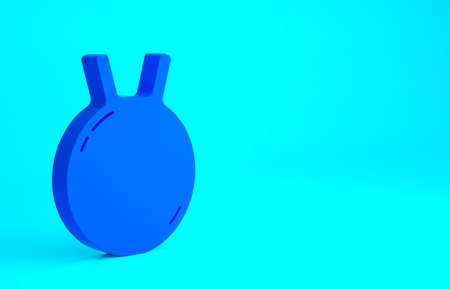 Blue Kettlebell icon isolated on blue background. Sport equipment. Minimalism concept. 3d illustration 3D render
