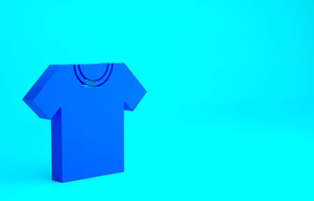 Blue T-shirt icon isolated on blue background. Minimalism concept. 3d illustration 3D render