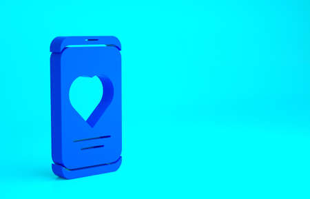 Blue Smartphone with heart rate monitor function icon isolated on blue background. Minimalism concept. 3d illustration 3D render 版權商用圖片