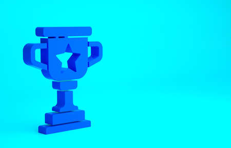 Blue Award cup icon isolated on blue background. Winner trophy symbol. Championship or competition trophy. Sports achievement sign. Minimalism concept. 3d illustration 3D render