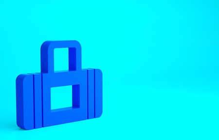 Blue Sport bag icon isolated on blue background. Minimalism concept. 3d illustration 3D render