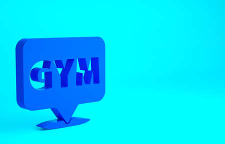 Blue Location gym icon isolated on blue background. Minimalism concept. 3d illustration 3D render 版權商用圖片