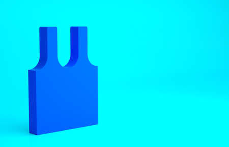 Blue Sleeveless T-shirt icon isolated on blue background. Minimalism concept. 3d illustration 3D render