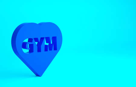Blue Fitness gym heart icon isolated on blue background. I love fitness. Minimalism concept. 3d illustration 3D render