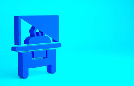Blue Glass showcase for exhibit icon isolated on blue background. Minimalism concept. 3d illustration 3D render 免版税图像