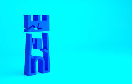 Blue Castle tower icon isolated on blue background. Fortress sign. Minimalism concept. 3d illustration 3D render 免版税图像