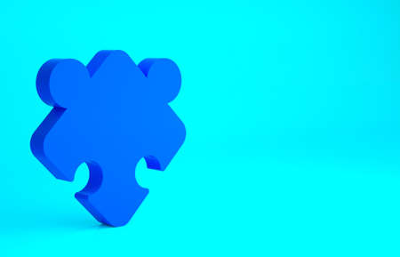 Blue Puzzle pieces toy icon isolated on blue background. Minimalism concept. 3d illustration 3D render