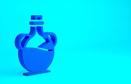 Blue Bottle of olive oil icon isolated on blue background. Jug with olive oil icon. Minimalism concept. 3d illustration 3D render