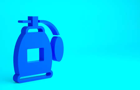 Blue Perfume icon isolated on blue background. Minimalism concept. 3d illustration 3D render