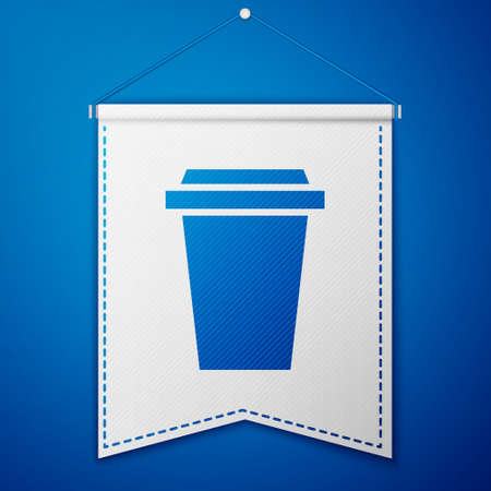 Blue Coffee cup to go icon isolated on blue background. White pennant template. Vector Illustration