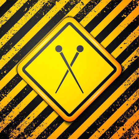 Black Knitting needles icon isolated on yellow background. Label for hand made, knitting or tailor shop. Warning sign. Vector Illustration