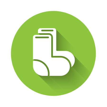 White Valenki icon isolated with long shadow. National Russian winter footwear. Traditional warm boots in Russia. Green circle button. Vector