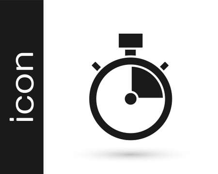 Black Stopwatch icon isolated on white background. Time timer sign. Chronometer sign. Vector Иллюстрация