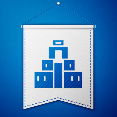 Blue Chichen Itza in Mayan icon isolated on blue background. Ancient Mayan pyramid. Famous monument of Mexico. White pennant template. Vector
