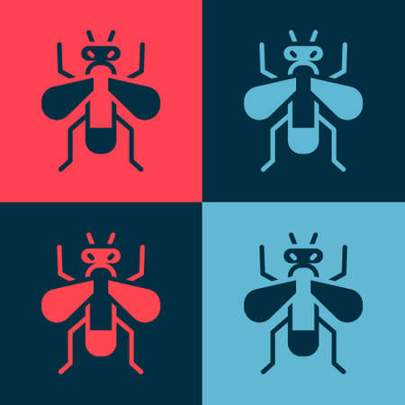 Pop art Insect fly icon isolated on color background. Vector