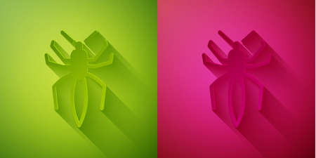 Paper cut Spider icon isolated on green and pink background. Happy Halloween party. Paper art style. Vector Stock Illustratie