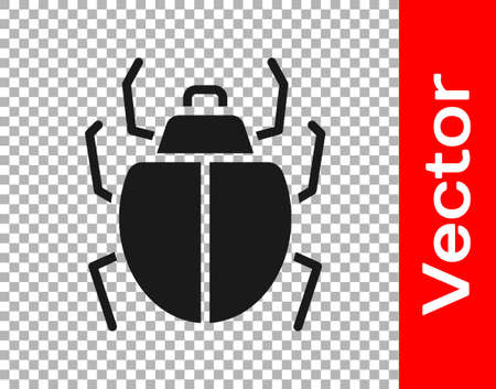 Black Mite icon isolated on transparent background. Vector