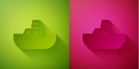 Paper cut Toy boat icon isolated on green and pink background. Paper art style. Vector Illustration