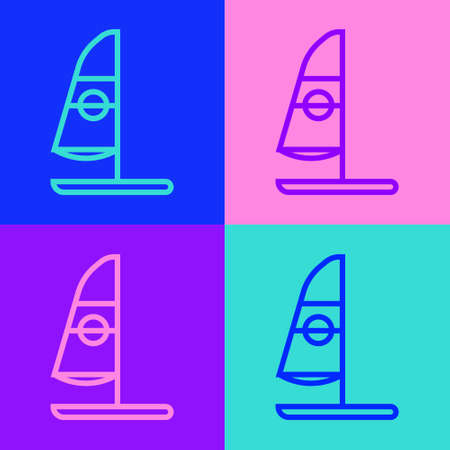 Pop art line Windsurfing icon isolated on color background. Vector Illustration