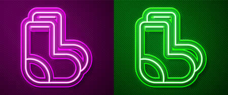 Glowing neon line Valenki icon isolated on purple and green background. National Russian winter footwear. Traditional warm boots in Russia. Vector Illusztráció
