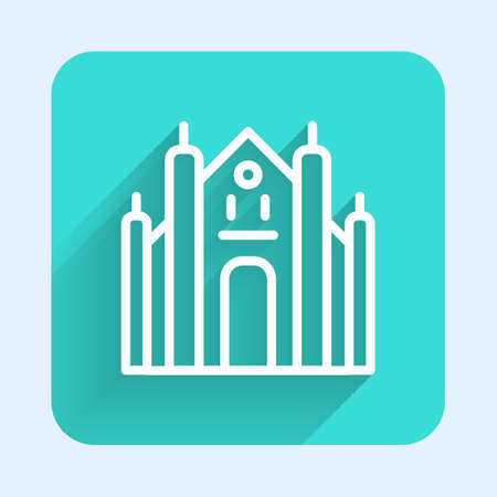 White line Milan Cathedral or Duomo di Milano icon isolated with long shadow. Famous landmark of Milan, Italy. Green square button. Vector