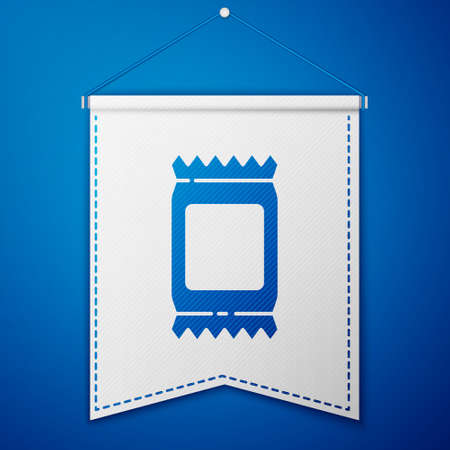 Blue Fertilizer bag icon isolated on blue background. White pennant template. Vector Illustration