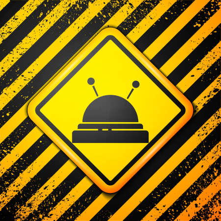 Black Needle bed and needles icon isolated on yellow background. Handmade and sewing theme. Warning sign. Vector Illustration