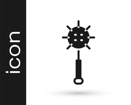 Black Medieval chained mace ball icon isolated on white background. Medieval weapon. Vector Ilustração