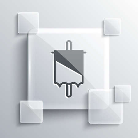 Grey Medieval flag icon isolated on grey background. Country, state, or territory ruled by a king or queen. Square glass panels. Vector