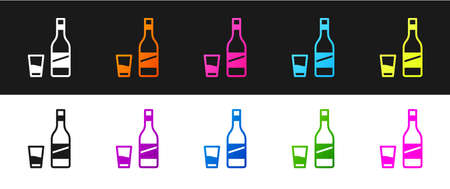 Set Bottle of vodka with glass icon isolated on black and white background. Vector
