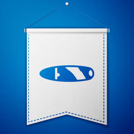 Blue Cigar icon isolated on blue background. White pennant template. Vector
