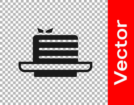 Black Medovik icon isolated on transparent background. Honey layered cake or russian cake Medovik on plate. Vector